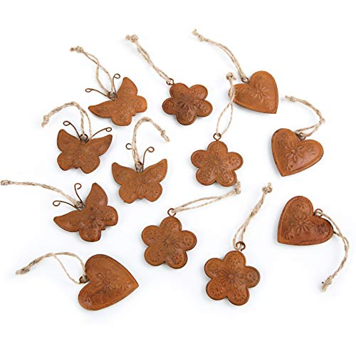 Logbuch-Verlag 12 kleine Anhänger Rost Osterdeko Herz Blume Schmetterling 4 cm mit Schnur zum Aufhängen Herzanhänger Patina Ostern Anhänger