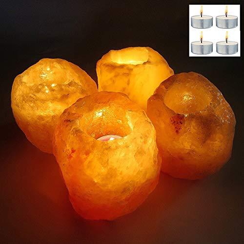 4 x Pack Himalayan Rock Salt Lamp Tea Light Candle Holder, Natural Pink Hymalian Crystal Rock Salt Lamp Tealight Candles T-Light for Aromatherapy Xmas Gift Set (4 x T-Lights included)