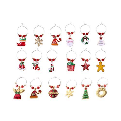 SUPVOX 18 Pezzi Segnabicchieri Natale Charms di Vetro di Vino Ciondoli per Calici Marcatori per Bicchiere per Festa di Natale Decorazione da Tavola