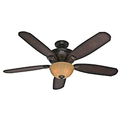 Hunter Fan Company 53255 Markley 56-Inch Onyx Bengal Ceiling Fan with Five Burnished Cherry Blades and a Light