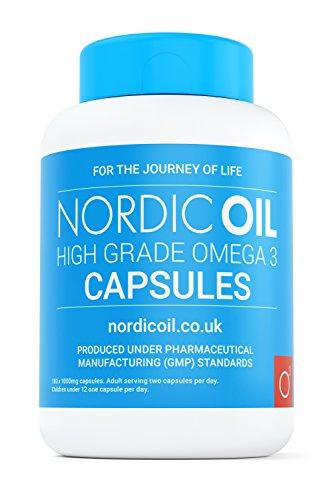 Nordic Oil Omega 3 Fischöl 1000 mg, 180 Kapseln– 100{2d512e9113e13e587f27496324d4bf68f710e3b735ad730bfbd440987b97355c} GELD-ZURÜCK-GARANTIE – Maximale Stärke und Aufnahmefähigkeit – Hergestellt in Großbritannien