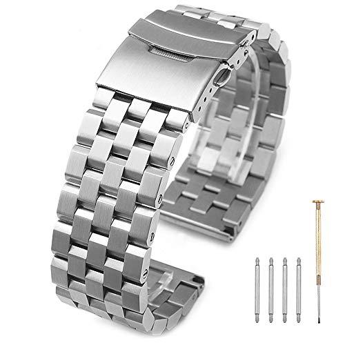 Kai Tian Cinturino Acciaio inossidabile a cinque file in argento Cinghie di ricambio per uomo 24mm cinturino in metallo Chiusura a doppio bloccaggio lucido