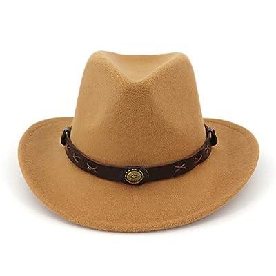 Men Women Felt Wide Brim Winter Fedora Hat Western Cowboy Hat Funny Party Hat Camel