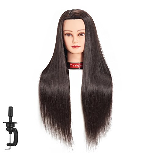 66 cm-28 Mannequin Kopf Hair Styling Training Head Schraubenmännchen Kosmetologie Puppe Kopf Kunstfaser Haar Friseur Training Modell mit inklusive Klemme (Black)