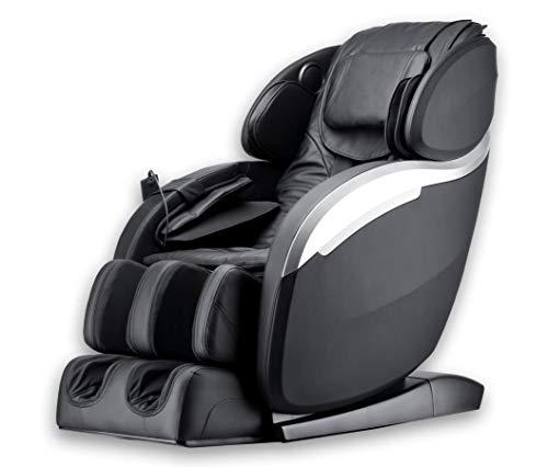 Luxus Massagesessel Deluxe V2 Zero Gravity Leder schwarz mit Rollentechnik Massage + Heizung + Armmassage Sessel für Wohnzimmer günstig schwarzer bequemer Fernsehsessel Ledersessel