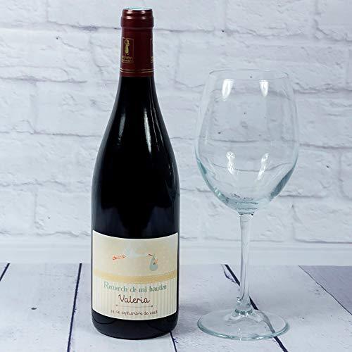 Calledelregalo Regalo Personalizado para bautizos: Botella de Vino Personalizable con el Nombre del bebé y Fecha: Amazon.es: Hogar