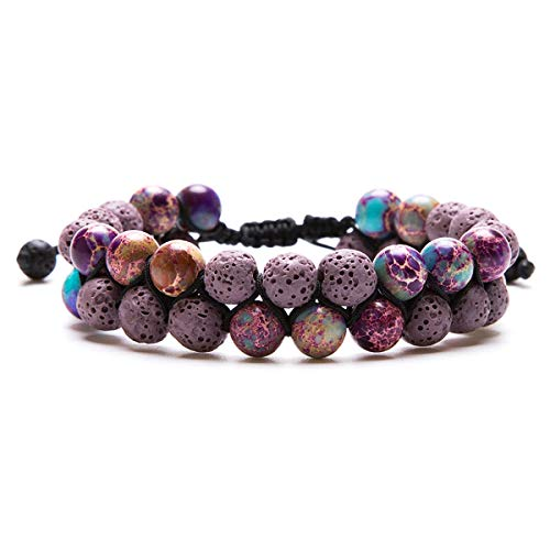 Aromatherapy Essential Oil Diffuser Bracelet Lava Stone Bead Gemstone Anxiety Diffuser Bangle Cuff Bracelet(Purple)