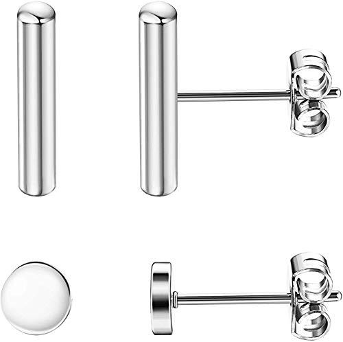 Adramata 2 pares de pendientes de botón de barra de plata de ley 925 para mujeres y hombres, pendientes cilíndricos de palo redondo simplificados hipoalergénicos