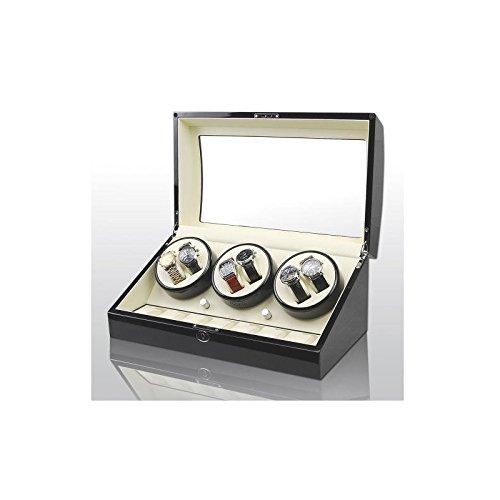 Horlogekast uurwerk klok winder 6+7 black-cream model 038BW