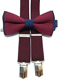 1fc53deeda7c NAVY BLUE+BURGUNDY cotton bow tie and BURGUNDY WINE suspenders for  groomsmen for groom outfit