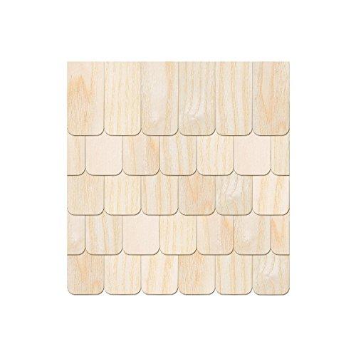 Echtholz Furnier helle Schindeln - Ansetzschindel - Größen- und Mengenauswahl, Schindelgröße:80mm x 40mm, Pack mit:100 Stück