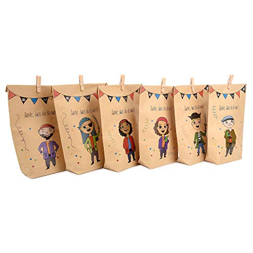 ewtshop® Piratengeschenktüten + Mini-Holzwäscheklammern, 12 Geschenktüten mit 6 verschiedenen süßen Piraten für Mitgebsel, Geschenke, Kindergeburtstage und vieles mehr