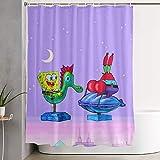 CDMT-XU1 Duschvorhang Spongebob & Krabben Kunstdruck, Polyester Stoff Badezimmer Dekorationen Sammlung mit Haken 60X72 Zoll
