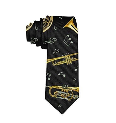 Corbatas para hombre Corbatas Regalo para hombres, niños, adolescentes Trompeta dorada Trombón Cuerno francés