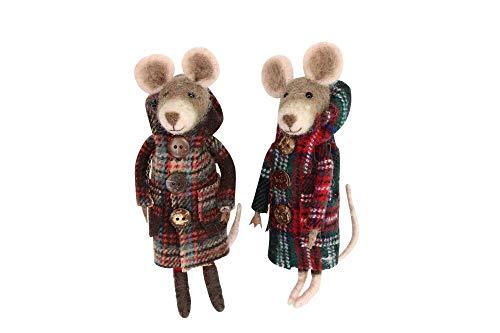 Gisela Graham - Juego de 2 Ratones de Lana para decoración navideña