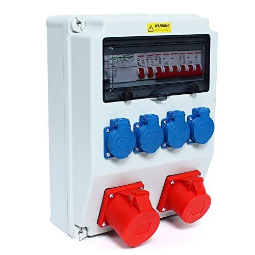 Wandverteiler CEE - Wandverteiler FI 16A + 230V + FI Stromverteiler Baustromverteiler Feuchtraumverteiler 2-6