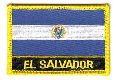 Flaggen Aufnäher Patch El Salvador Schrift Fahne NEU