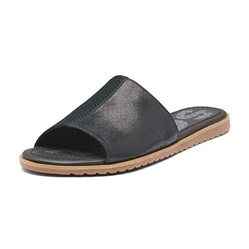 Sorel - Women's Ella Block Slide, Suede Sandal with Strap, Black, 10 M US