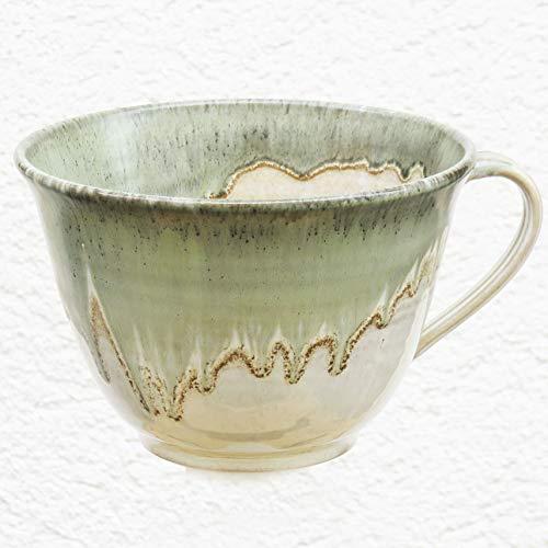 Tasse, Müslitasse beige-grün, handgetöpfert, Höhe ca. 9,5 cm, Inhalt ca. 0,5 l Steinzeug