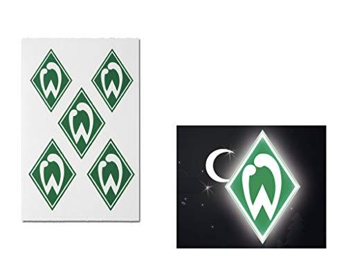 Werder Bremen Aufkleber Nachleuchtende Aufkleber 5 Stück