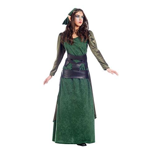 Elbenwald Grüne Waldelfe Kostüm Damen 2tlg Kleid und Schärpe für Karneval u Fasching - S
