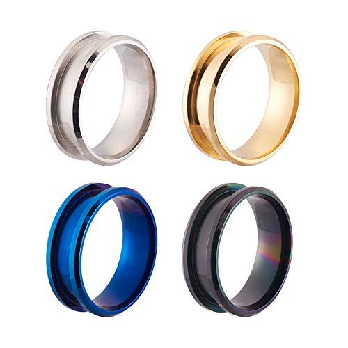 Beadthoven 4 anillos de acero inoxidable en blanco 7,5 mm pulido cómodo anillo de dedo ranurado para hombres Incrustación anillo joyería fabricación (4 colores)