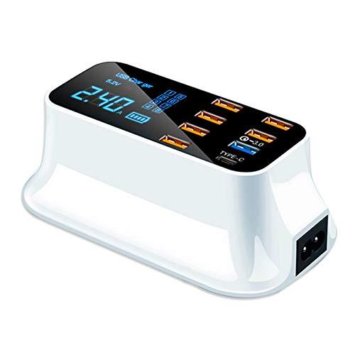 LRJBFC PD Cargo RÁPIDO 3.0 Cargador USB LED Pantalla LED Tipo C Cargador portátil Viaje DE Viaje DE Carga SMARTE (Color : US Plug, Plug Type : White)