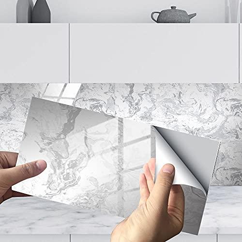 Hiser Rectángulo Adhesivos Decorativos Azulejos Pegatinas para Baldosas del Baño, 3D Mármol Impresión Mosaico Cocina Resistente al Agua Pegatina de Pared, 30x15cm (16Piezas,Gris Blanco)