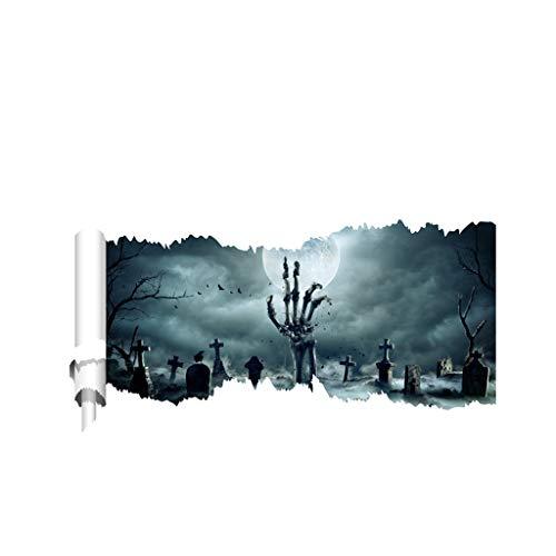JHD Halloween Horror abnehmbare PVC Magic 3D Deckenboden Aufkleber, The Art Dreamscape Home Decor Wandbilder Wallpaper