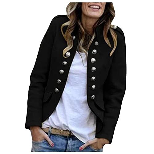 Zldhxyf Elegante chaqueta de traje para mujer con tira de botones, estilo militar, para el tiempo libre, para negocios, oficina, traje., Negro , M