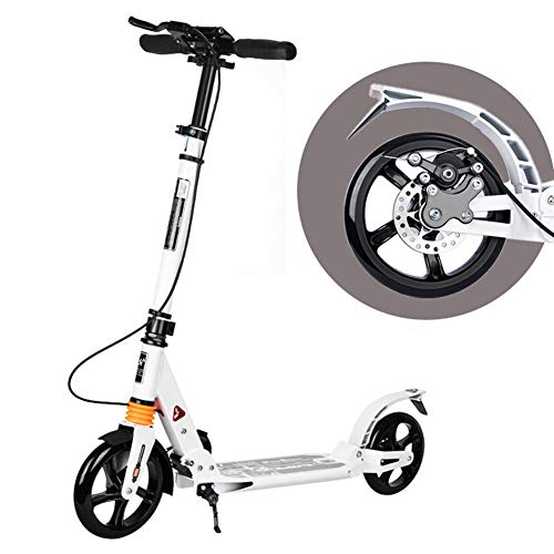 Fantastic Deal! Scooters City with Hand Disc Brake – Folding Great Gift for Adult Teen, Height-Adjustable Handlebars丨Wear Resistant Wheels (Color : White)