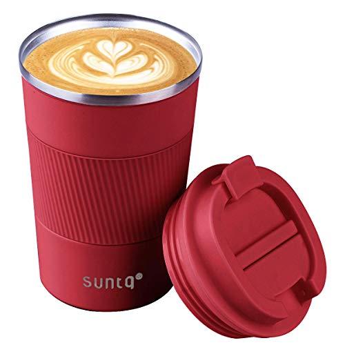SUNTQ Kaffeebecher to go Thermo aus Edelstahl - Thermobecher mit Gummierte Manschette Doppelwand Isoliert - Kaffeetasse mit Auslaufsicherem Deckel Wiederverwendbar, Weinrot 380ml