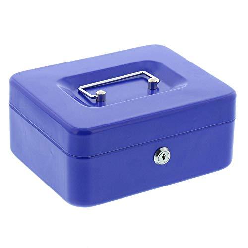 Burg-Wächter Geldkassette Money 5020, Stahlblech, Blau, Inkl. 2 Schlüssel und Hartgeldeinsatz