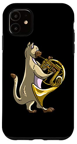 iPhone 11 Funny Cat Playing French Horn | Cool Animal Musician Gift Case