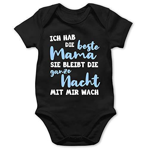 Muttertagsgeschenk Tochter & Sohn Baby - Ich hab die Beste Mama blau - 1/3 Monate - Schwarz - muttertagsgeschenk Baby - BZ10 - Baby Body Kurzarm für Jungen und Mädchen