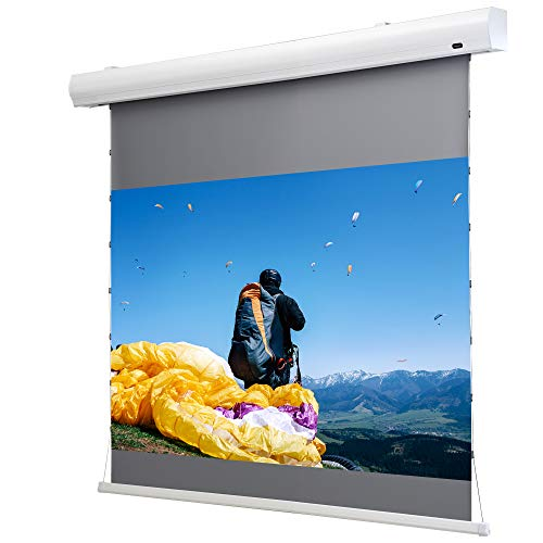celexon Home-Cinema Motor-Leinwand Tension Dynamic Slate ALR, Seilspann-Leinwand ohne Maskierung, Kontrast-Leinwand - 199 x 112cm - 16:9 - Gain 0,8