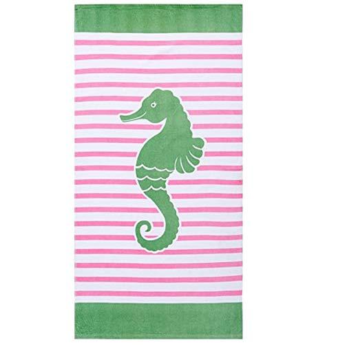 AZZXZONa Strandtuch Baumwolle Groß Gewickelt Badetuch Grün Seepferdchen Stranddecke Weich Saugfähig Schwimmen, Fitness, Yoga, Camping Für Kinder & Erwachsene 160X80Cm