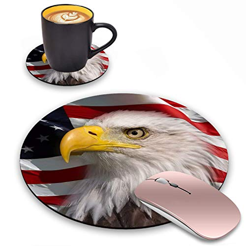 Round Mouse Pad with Coasters Set, Patriotic American Flag Bald Eagle Design Mouse Pad, Non-Slip Rubber Base Mouse Pads for Laptop and Computer Office Accessories