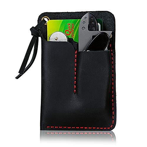 EASYANT Handmade Leather Pocket Organizer Knife Slip Pouch Sheath EDC Wallet Black