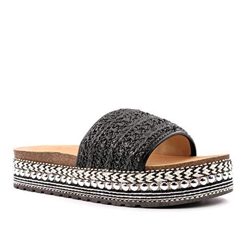 Angkorly - Damen Schuhe Schuh-Mule Espadrille - Böhmen - Strand - bi-Materie - mit Stroh - Nieten-Besetzt - Perle Keilabsatz 4 cm - Schwarz 5 FB-180 T 40