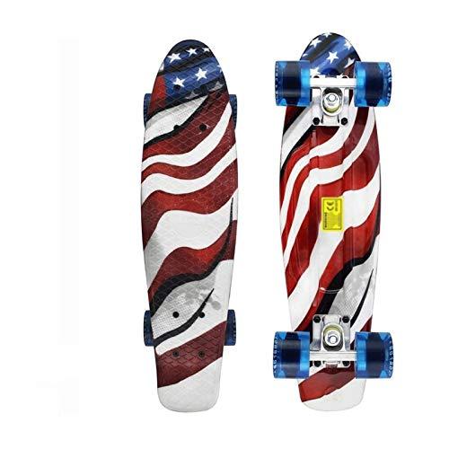 Longboard 22 Pulgadas de monopatín Longboard Mini Crucero Tablero Retro patineta Placa Larga Placa de Skate for niños niños jóvenes Principiantes Adulto (Color : 4)