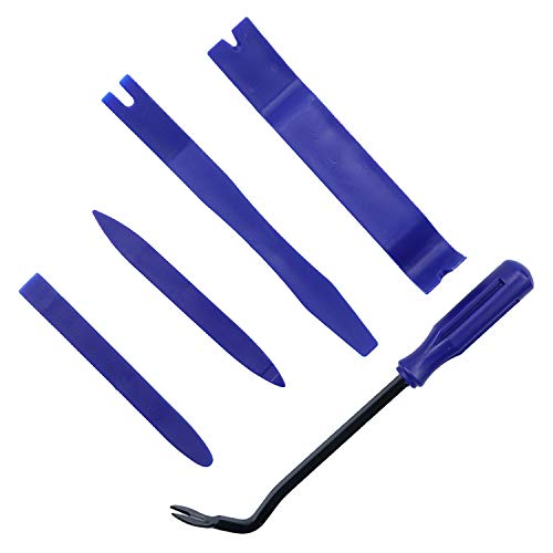 LivTee 5 pcs Auto Trim Removal Tool Kit, Interior Door Panel Clip Removal Set for Vehicle Dash Radio Audio Installer (Blue)