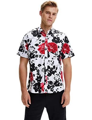 SSLR Herren Hawaiihemd Kurzarm Baumwolle Freizeithemd 3D Druck Blumen Muster Button Down Aloha Shirts (XX-Large, Weiß)