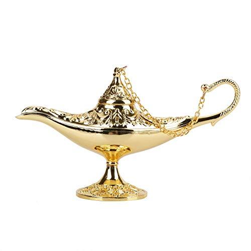 Genie Licht Lampe, Aladdin Licht Magie Genie Licht Metall seltene Retro-Legende Farbe Lampe Wunsch Lampe Topf Sammlerstück(Golden)