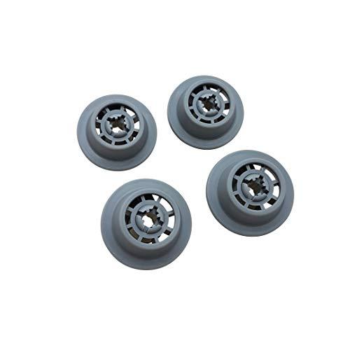 4er Set Korbrolle mit Rollenhalter 611475 passend für Bosch Siemens Spülmaschine, Geschirrspüler