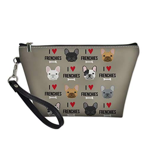 FOR U DESIGNS Travel Cosmetic Bag for Women Cute French Bulldog Printed Organizer Zipper Makeup Bags Pouch Toiletry