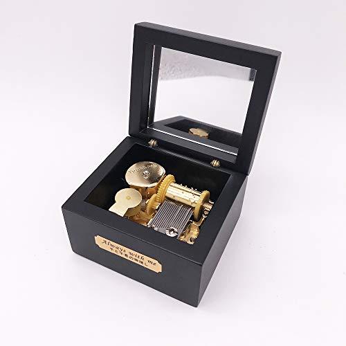 Wood Music Box,Mini Music Box with Yunsheng Movement,Play Swan Lake,Black
