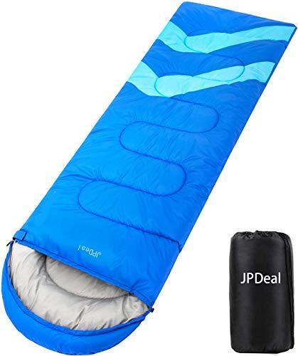 JPDeal 寝袋,シュラフ 封筒型 軽量 保温 寝袋 コンパクト収納 アウトドア 登山 車中泊 防災用 災害時 避難用 丸洗い 快適温度-5度-25度 1.8kg 寝袋 オールシーズン使えます 収納袋付き (ブルー)