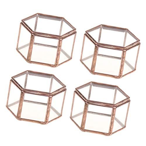 GPWDSN Paquete de 4 Mini Cajas de joyería de Vidrio de terrario geométrico Hexagonal, Plantas suculentas, jardineras, Cajas para Almacenamiento, baratija, Anillo, Pendiente, Cofre