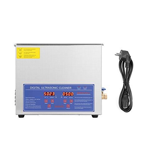 Ejoyous Limpiador Ultrasónico, Máquina de Limpieza Digital 10L Temporizador de Baño de Limpiador Ultrasónico Máquina de Calentamiento Enchufe Europeo de 220 V